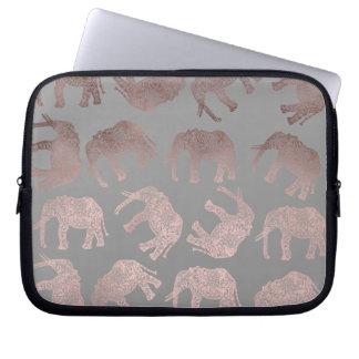 klares Stammes- Elefantmuster der Rosengoldfolie Laptopschutzhülle