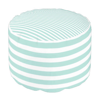 Klassisch-Aqua-Weiß-Streifen-Kombiniert--Puff Hocker