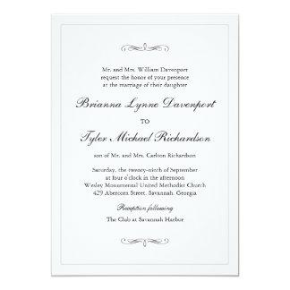 Klassische einfache Eleganz-Hochzeit 12,7 X 17,8 Cm Einladungskarte
