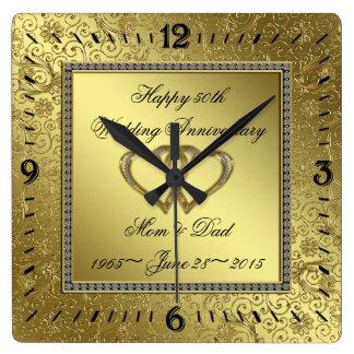 Klassische goldene Hochzeitstag-Wanduhr Quadratische Wanduhr
