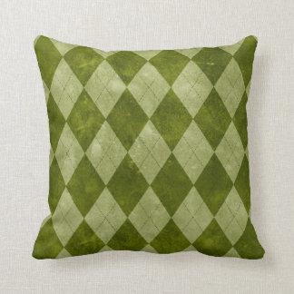 Klassische moosige grüne Rauten-geometrisches Kissen