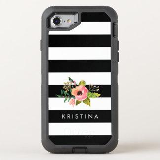 Klassische Schwarz-weiße Streifen-Blumenname OtterBox Defender iPhone 7 Hülle