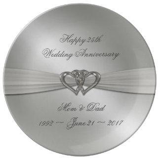Klassische silberne Hochzeitstag-Porzellan-Platte Teller