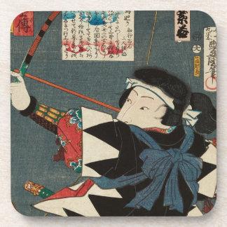 Klassische Vintage Ukiyo-e Kyudo Bogenschütze Untersetzer