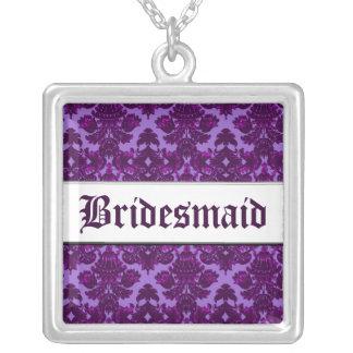 Klassischer Damast lila (Hochzeit) Halskette Mit Quadratischem Anhänger