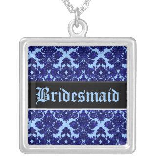 Klassisches Damast-Blau (Hochzeit) Halskette Mit Quadratischem Anhänger