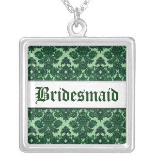 Klassisches Damast-Grün (Hochzeit) Halskette Mit Quadratischem Anhänger