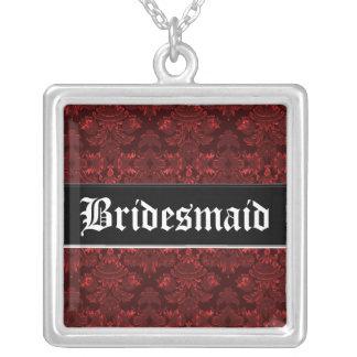 Klassisches Damast-Rot (Hochzeit) Halskette Mit Quadratischem Anhänger