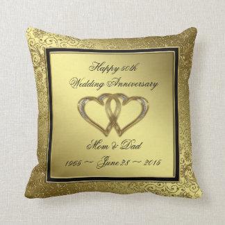 Klassisches goldenes Hochzeitstag-Wurfs-Kissen Kissen