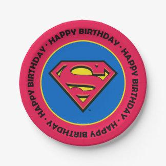 Klassisches Logo des DC-Comic-  Supermann-  Pappteller