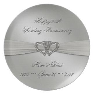 Klassisches Silber-25. Hochzeitstag-Platte Flache Teller