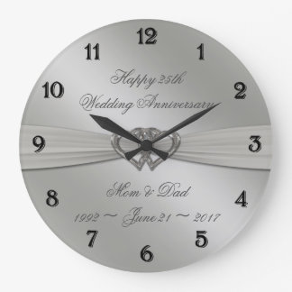 Klassisches Silber-25. Hochzeitstag-Wanduhr Wanduhr