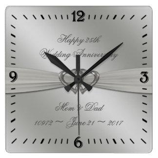 Klassisches Silber-25. Hochzeitstag-Wanduhr Wanduhren