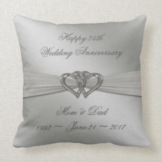 Klassisches Silber-25. Hochzeitstag-Wurfs-Pille Kissen