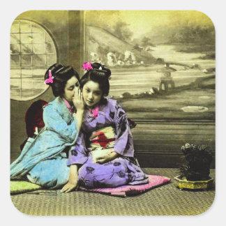 Klatschgeisha-Mädchen alten Vintagen Japaners Quadratischer Aufkleber