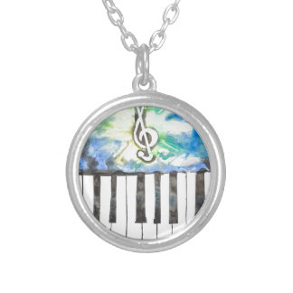Klavier-Aquarell Versilberte Kette