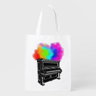 Klavier-bunter Rauch Wiederverwendbare Einkaufstasche