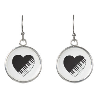 Klavier-Herz-Tropfen-Ohrringe Ohrringe