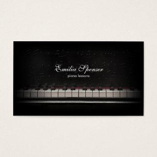 Klavier-Musik-Lehrer-Schwarz-Visitenkarte Visitenkarten