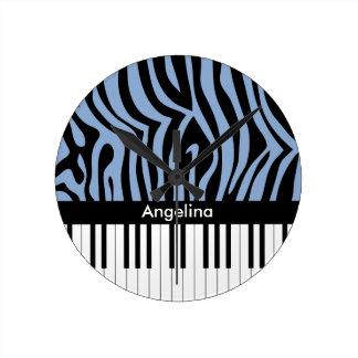 Klavier-Schlüssel-Himmelblauund -SCHWARZES Zebra Wanduhren