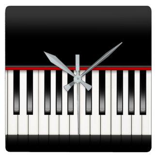 Klaviertastatur Quadratische Wanduhr