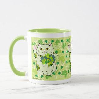Kleeblatt-Blumenstrauß Maneki Neko (glückliche Tasse