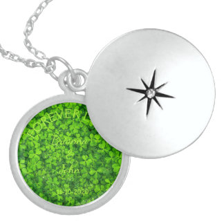 Kleeblatt-Klee-Grün-irische Hochzeits-Paare Sterling Silberkette