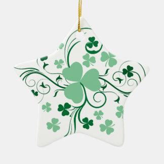 Kleeblattblüte Keramik Stern-Ornament