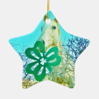Kleeblattpferdpferde Keramik Stern-Ornament