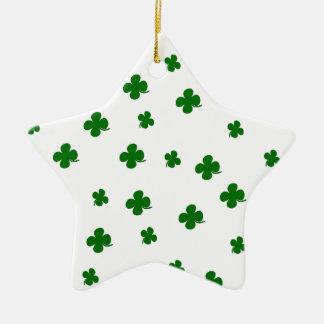 Kleemuster St. Patricks Tages Keramik Stern-Ornament