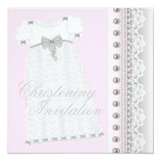 KleiderBaby-rosa und graue Taufe Quadratische 13,3 Cm Einladungskarte