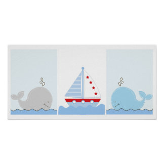 Kleine Blauwal-und Segelboot-Kunst-Drucke Poster