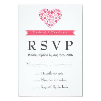 Kleine Herzen rosa und weiße Hochzeit UAWG Karte 8,9 X 12,7 Cm Einladungskarte