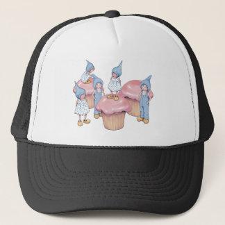 Kleine Kuchen und Gnomes, rosa Zuckerglasur, Kunst Truckerkappe