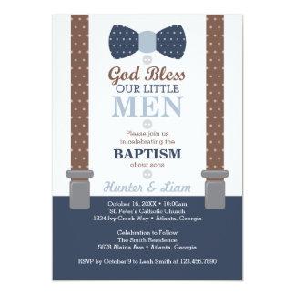 Kleine Mann-Taufe-Doppeleinladung, Blau, Brown Karte