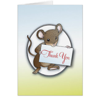 Kleine Maus danken Ihnen zu kardieren Mitteilungskarte