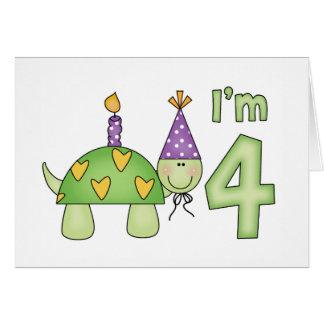 Kleine Schildkröte-4. Geburtstag Karte