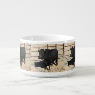 Kleine schwarze Stier-Chili-Tasse Kleine Suppentasse