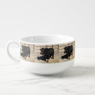 Kleine schwarze Stier-Suppen-Tasse Große Suppentasse