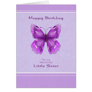 Kleine Schwester-Geburtstags-Karte - lila Karte