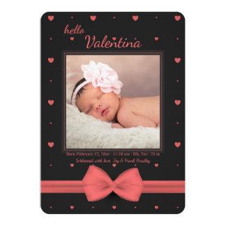 Kleine Valentine-Foto-Geburts-Mitteilung 12,7 X 17,8 Cm Einladungskarte