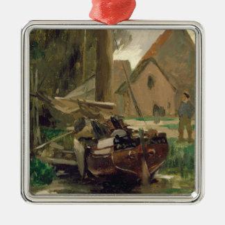 Kleiner Hafen mit einem Boot Quadratisches Silberfarbenes Ornament