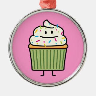 Kleiner Kuchen besprüht die Vanille, die Nachtisch Silbernes Ornament
