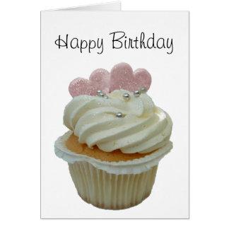 Kleiner Kuchen mit rosa Herzen Karte