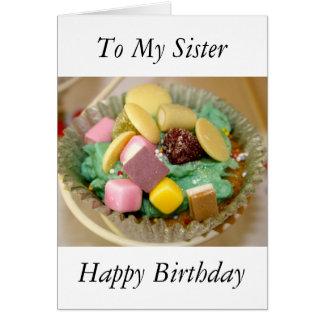 Kleiner Kuchen zu meiner Schwester-alles- Gute zum Karte
