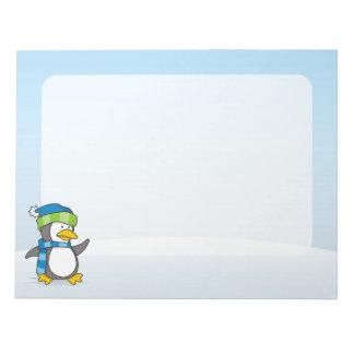 Kleiner Pinguin, der auf Schnee geht Memo Blöcke