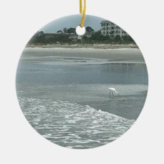 Kleiner Reiher auf dem Strand Keramik Ornament