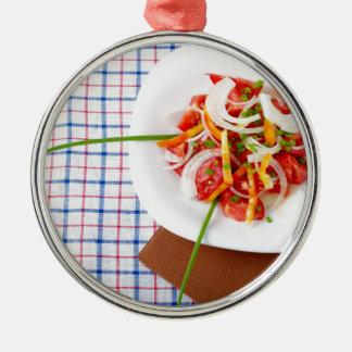 kleiner Teil vegetarischer Salat Silbernes Ornament