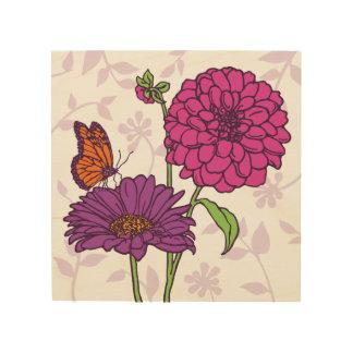 Kleines Gänseblümchen, Dahlie u. Schmetterling in Holzleinwand