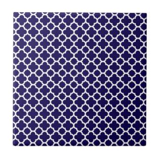Kleines Klee Quatrefoil Muster-Kobalt-Blau Fliese